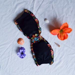Victoria's Secret - Black, Ruffled, Tubed Bikini